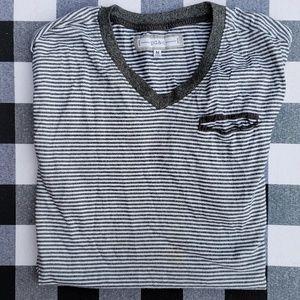 Mens Vneck gray striped tee